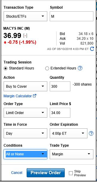 Macy Buy to Cover